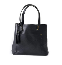Lifetime Leather Co Deluxe Tote - Pebble Black