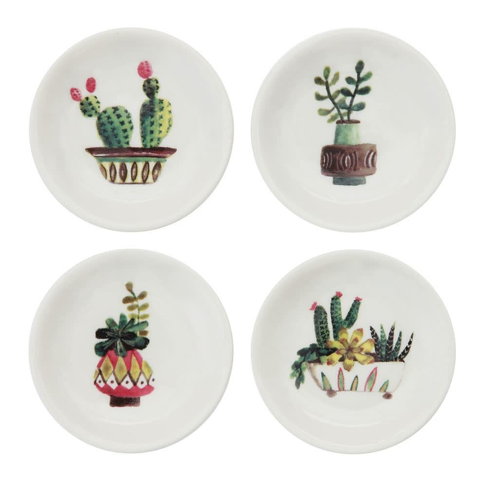 "Creative Co-Op 3"" Stoneware Dish w/ Cactus"