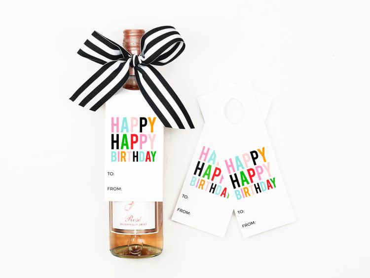 when it rains paper co. happy bday wine tags