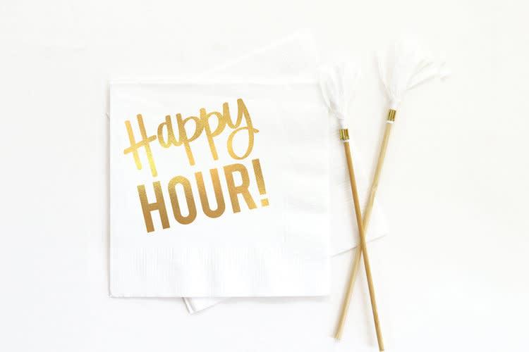 when it rains paper co. happy hour white napkins
