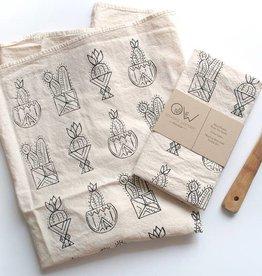 onward wander studio potted cacti tea towel