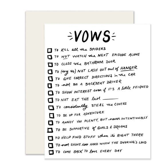 Slightly Vows checkboxes Card