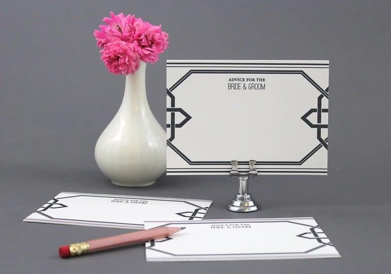 color box design & letterpress Wedding Advice Cards