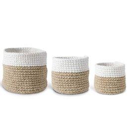 K&K Interiors S/3 Tan and Cream Woven Basket