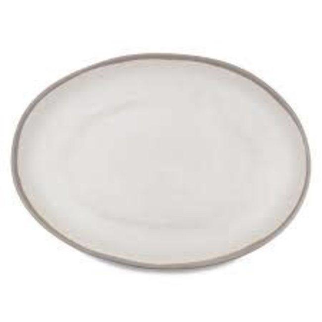 Potter Stone Greige Oval Platter