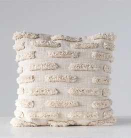 """Creative Co-Op Natural Pillow with fringe 20"""""""
