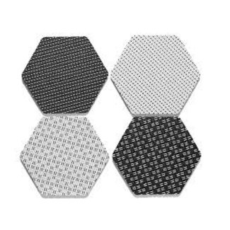 Hex Black/White Coaster Set of 4