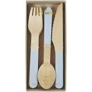 Wooden Cutlery Set - Blue