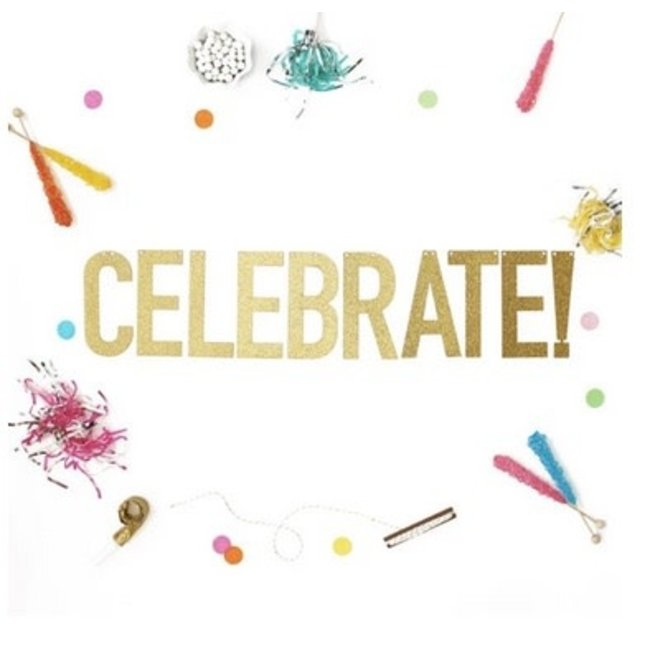 Celebrate Gold Glitter Banner