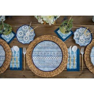 Wavy Dinner Plate Indigo Batik