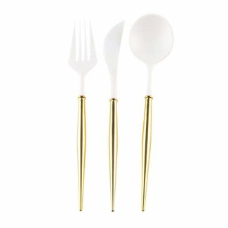 White & Gold Cutlery 24pc.