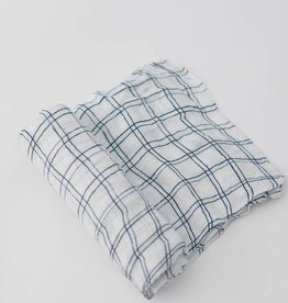 Little Unicorn Navy Windowpane Deluxe Swaddle