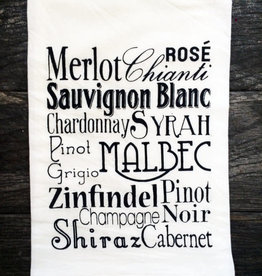 Coin Laundry Wine Typography Tea Towel