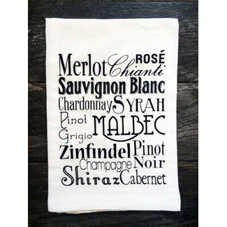 Wine Typography Tea Towel
