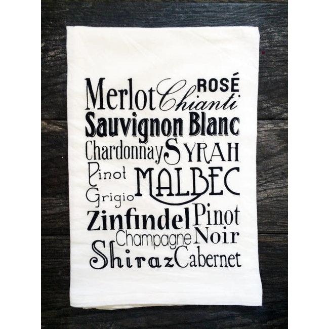 Wine Typography Tea Towel