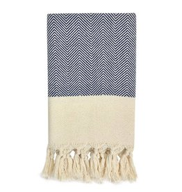 slate + salt Herringbone Navy Turkish Hand Towel