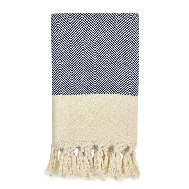 Herringbone Navy Turkish Hand Towel