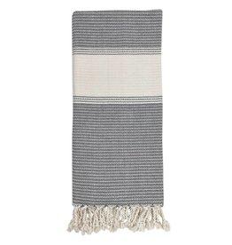 slate + salt Oversized Anatolia Stripe Charcoal Turkish Towel