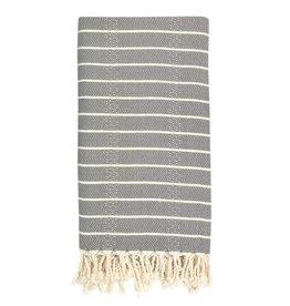 slate + salt Oversized Geo Stripe Gray Turkish Towel
