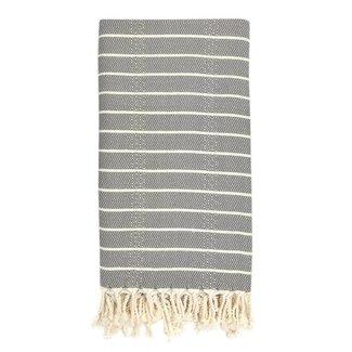 Oversized Geo Stripe Gray Turkish Towel