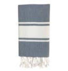 slate + salt Essential Stripe Steel Turkish Hand Towel