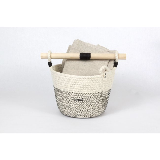 Small Woven Basket With Wooden Handle