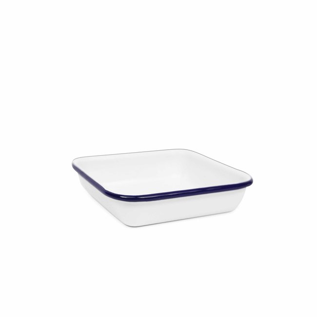 crow canyon Mini Sq. Tray White Blue Rim