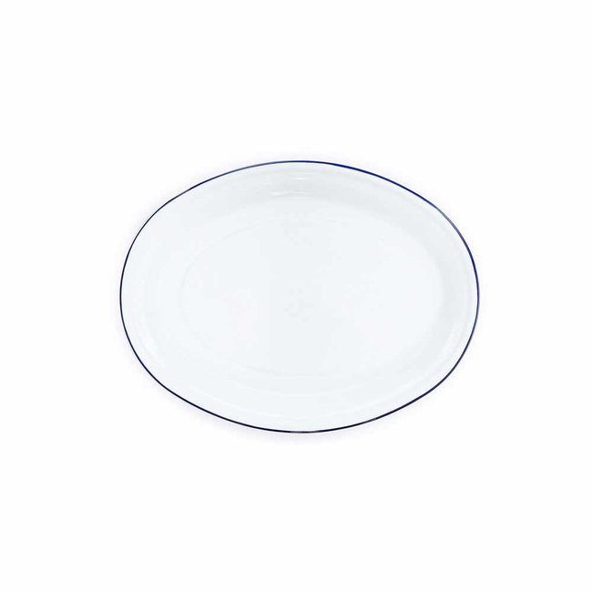 crow canyon Oval Tray White Blue Rim