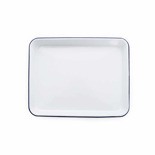 crow canyon 11x9 Rect. Tray White Blue Rim