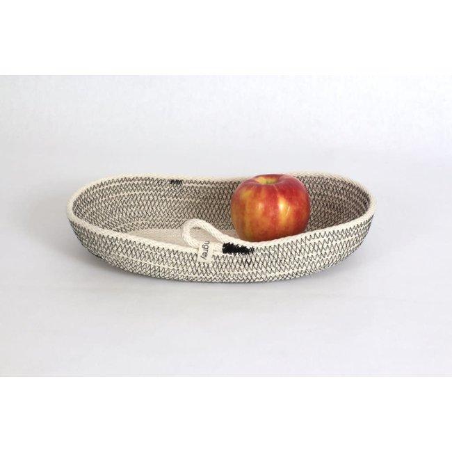 woven grey Medium Oval Black Basket