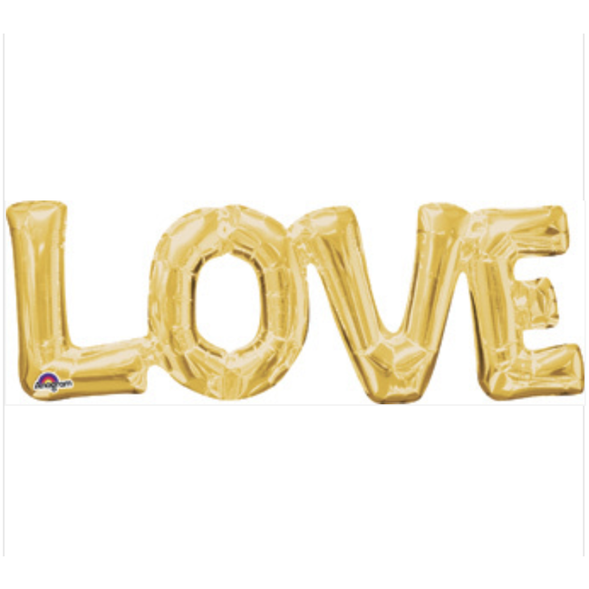 LOVE Gold Connected Word Phrase Balloon