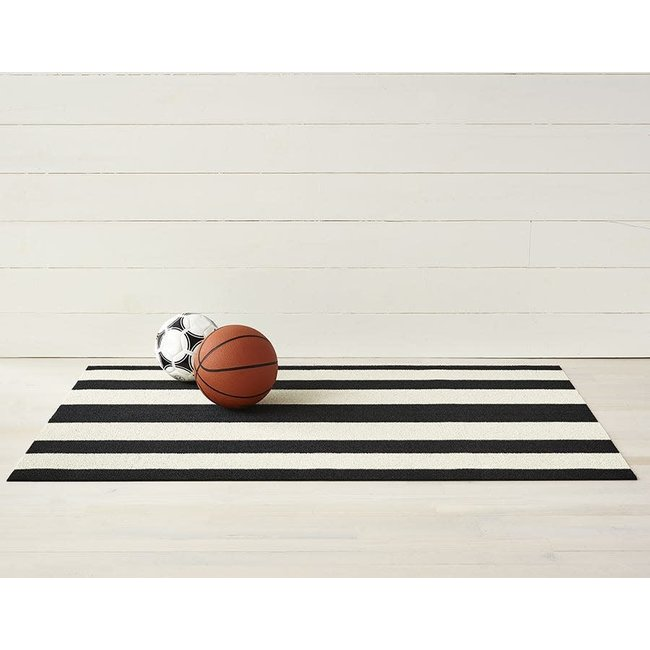 Bold Stripe Doormat  Black White