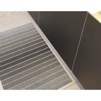 Block Stripe shag taupe utility mat