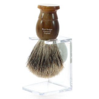English Shaving Brush, Light Horn w/ stand