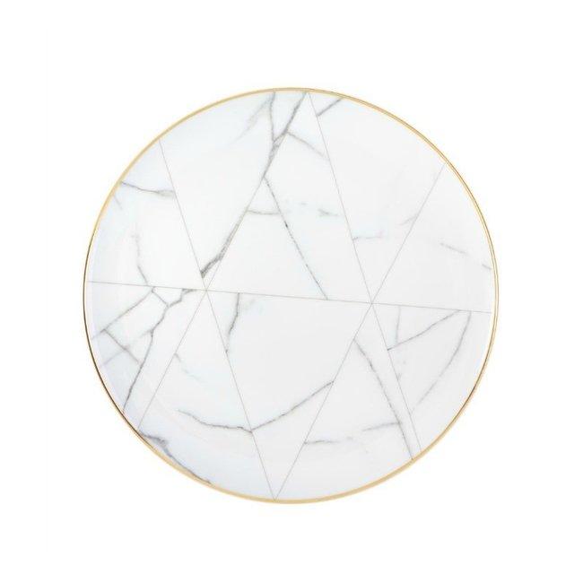 Carrara White Marble Dinner Plate