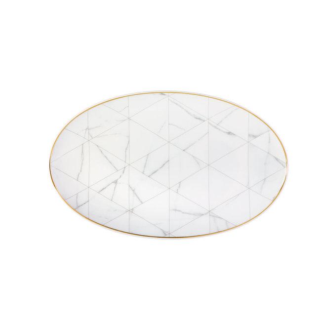 Carrara White Marble Oval Platter Large