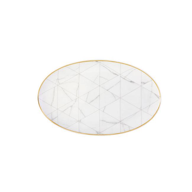 Carrara White Marble Oval Platter Small