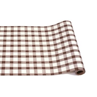 Brown Painted Check Runner