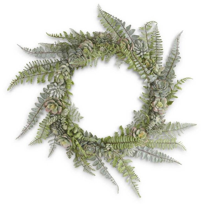 24 Inch Fern and Succulent Real Touch Wreath