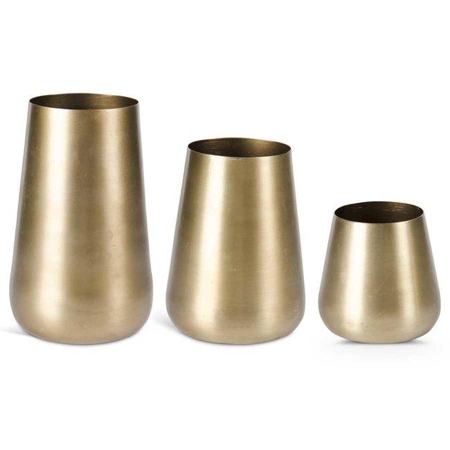 Brushed Gold Vases S/3