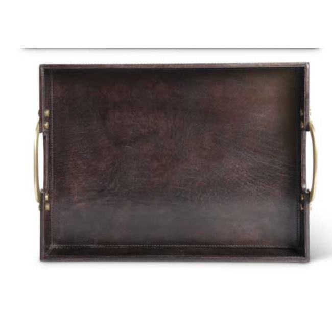 Brown Rectangle Leather Tray Sm