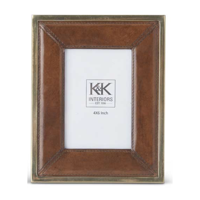 "Tan Leather Frame Antique Metal Trim 4x6"""