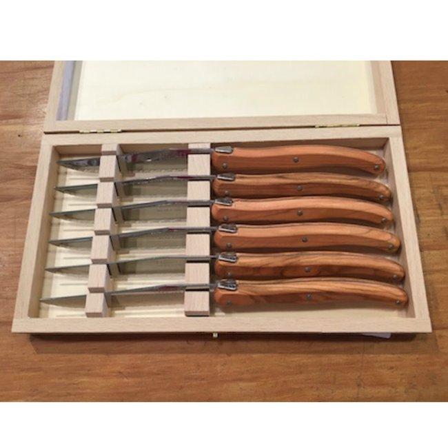 Laguiole Laguiole 6pc knives Olive Wood Debutant
