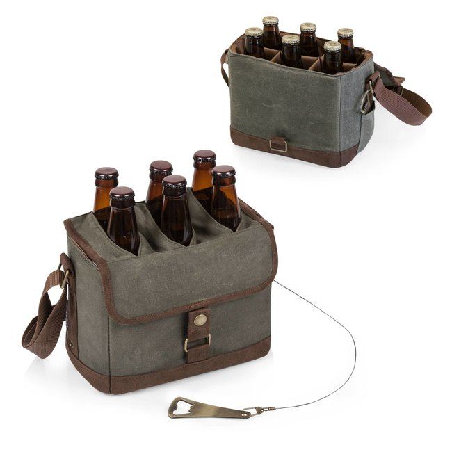 Beer Caddy: Khaki/Brown