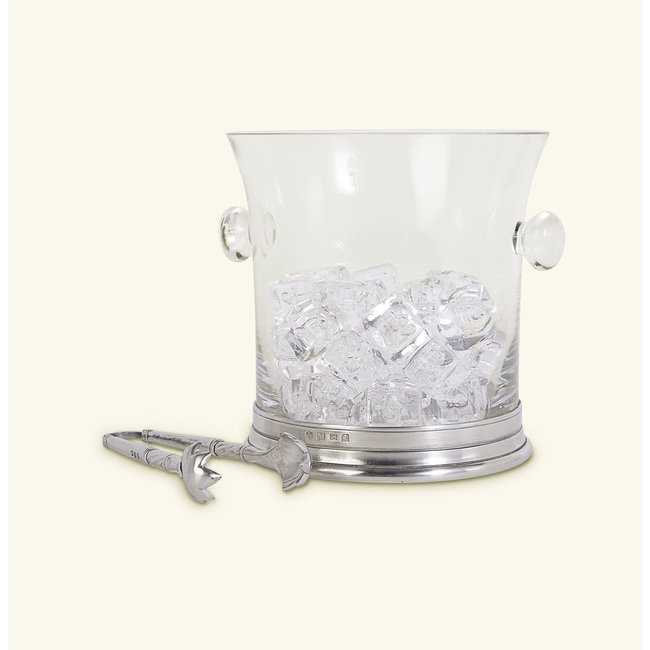 Crystal Ice Bucket with Handles and Tongs