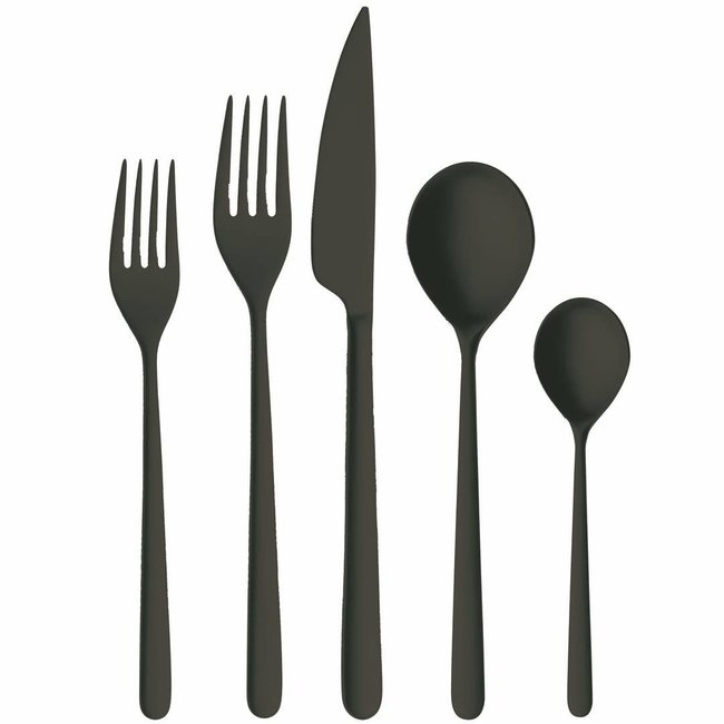 Linea Ice Nero 5pc. Flatware Setting