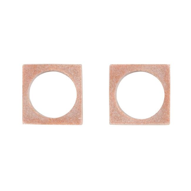 Modernist Napkin Rings Pink Marble S/2