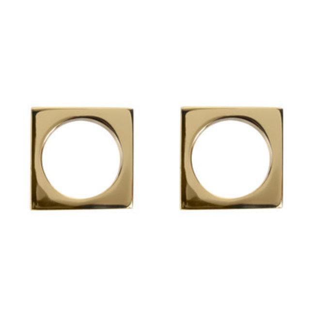 Modernist Napkin Rings Brass S/2