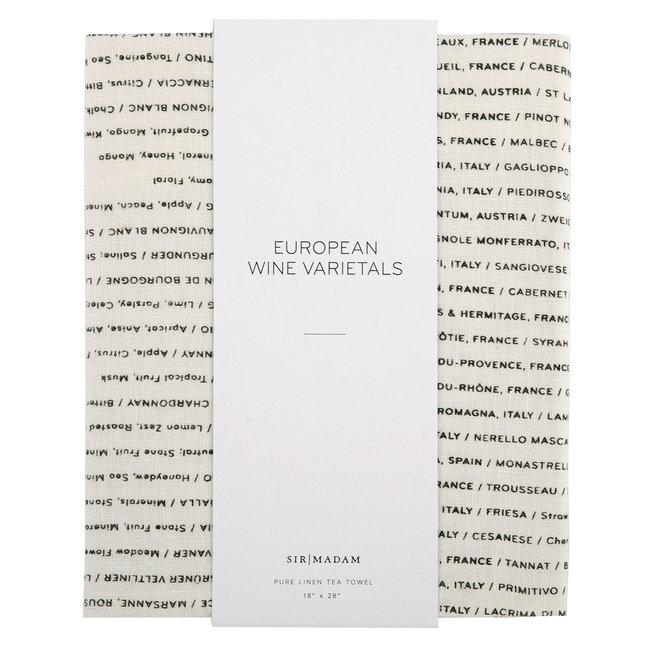 Wine List Tea Towel
