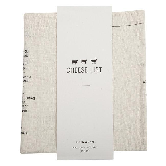 Cheese List Tea Towel